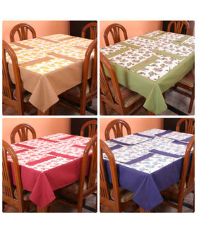 Floral Printed Table Cover With Place Mat (More Color & Size)