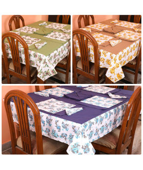 Floral Printed Table Cover With Place Mat & Napkin (More Color & Size)