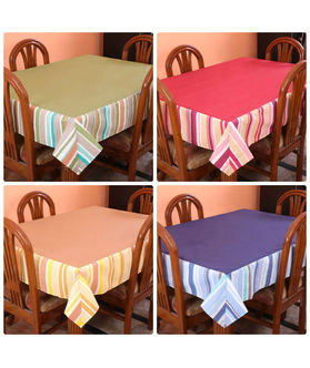 Stripe Printed Table Cover (Pack of 1)(More Color & Size)