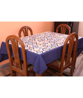 Multi Printed Blue Table Cover (Pack of 1)(More Size)