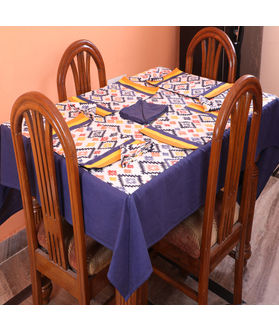 Multi Printed Blue Table Cover With Place Mat & Napkin (More Size)