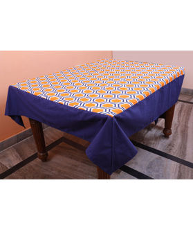 Dekor World Hexagonal  Printed Blue Table Cover (Pack of 1)