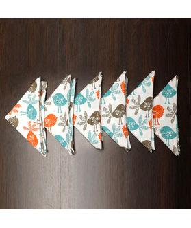 Bird Printed Orange Napkin Set (Pack of 6)By Dekor World