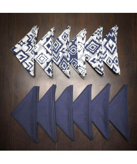 Ikat Plain Printed Blue Napkin Set (Pack of 12)By Dekor World