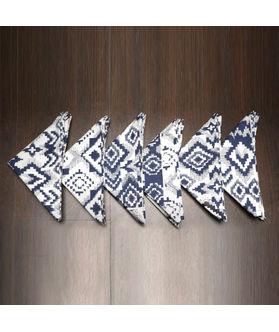 Ikat Printed Blue Napkin Set (Pack of 6)By Dekor World