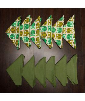 Owl Plain Printed Green Napkin Set (Pack of 12)By Dekor World