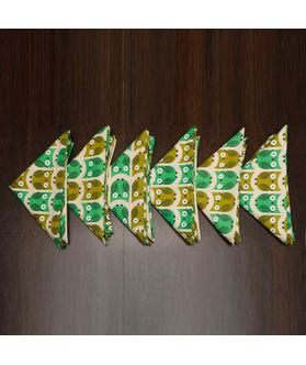 Owl Printed Green Napkin Set (Pack of 6)By Dekor World