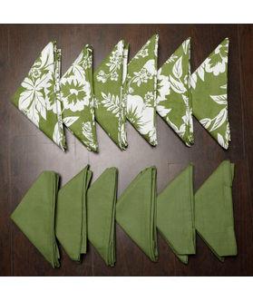 Floral Plain Printed Green Napkin Set (Pack of 12)By Dekor World
