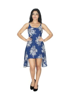 Tusky Blue Georgette Western one piece Dress