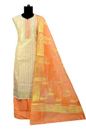 Banarasi Work Golden Orange Color Suit With Banarasi Dupatta