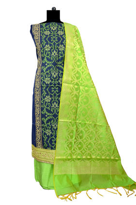 Banarsi Embroidered Navy Blue Color Suit With Green Banarsi Dupatta