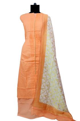 Cotton Peach Designer Suit With Banarsi Dupatta