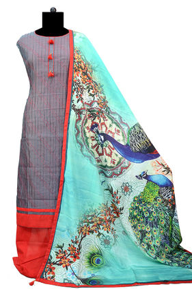 Grey Red Suit With Peacock Silk Printed Dupatta