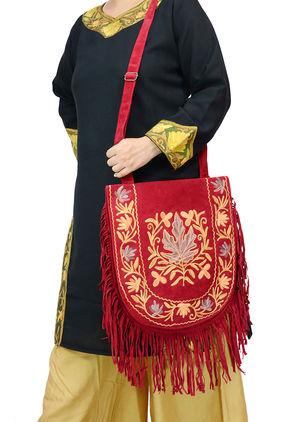 Kashmiri Maroon Grey Orange Color Embroidered Suede Shoulder Bag