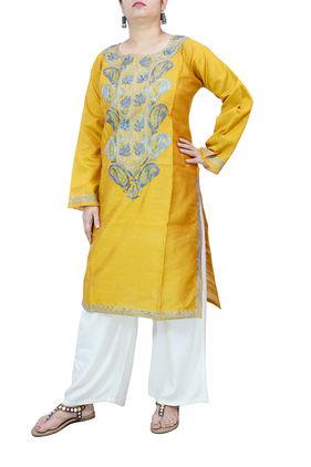 Kashmiri Mustard Color Silk Embroidered Kurta