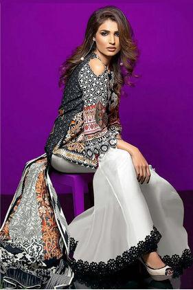 Lawn Cotton Beige Black Multicolor Suit With Chiffon Dupatta