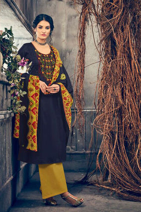 Pashmina Navy Blue Mustard Embroidered Suit With Shawl