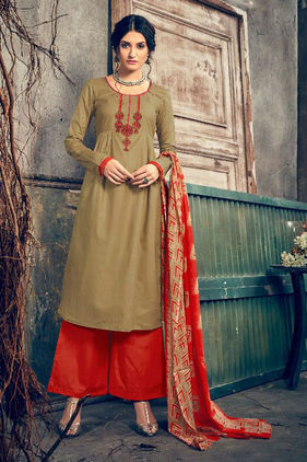 Pashmina Olive Green Red Embroidered Suit With Shawl