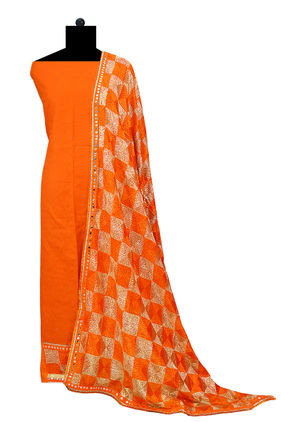 Phulkari Orange Cotton Self Printed Suit With Full Jaal Phulkari Dupatta