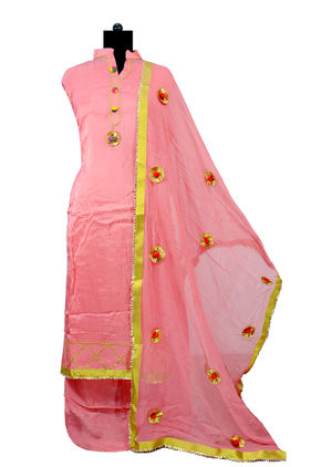 Pink Dogri Silk Suit With Pure Chiffon Dogri Dupatta