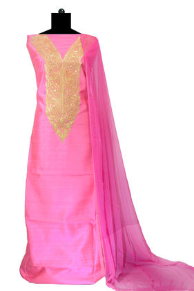 Tilla Work Pink Color Silk Suit With Pure Chiffon Dupatta