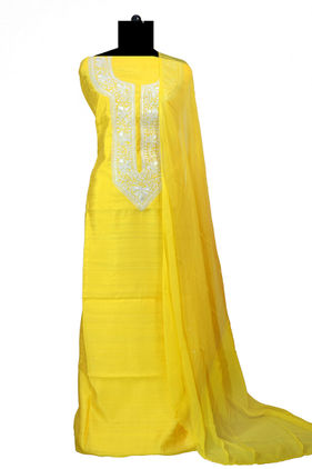 Tilla Work Yellow Color Silk Suit With Pure Chiffon Dupatta