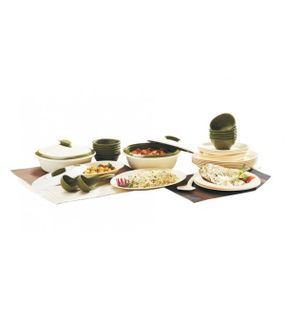DINNER SET WITH DOUBLE WALL CASSEROLE IN MAT FINISH (36 PCS.)  || SIGNORAWARE - DINNER SET RANGE
