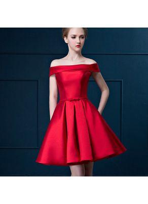 Off Shoulder Solid Color Satin Party Dress