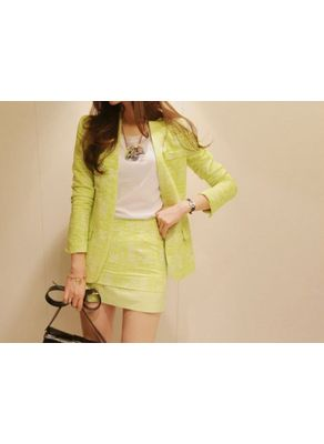 Fluorescence Yellow Suit Blazer + Skirt