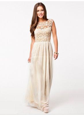 Beautiful Beige Lace Maxi Dress