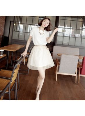 Elegant White O-Neck Short Dress
