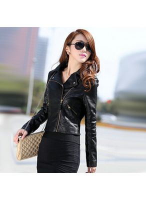 Black Solid PU Biker Jacket