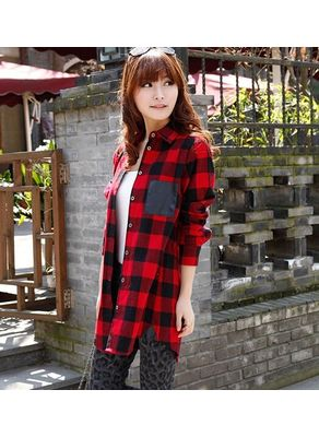 Long Plaid Shirt - KP001424