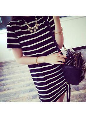 Black & White Strip Round Neck Dress