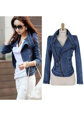 Blue Zipper Denim Jacket