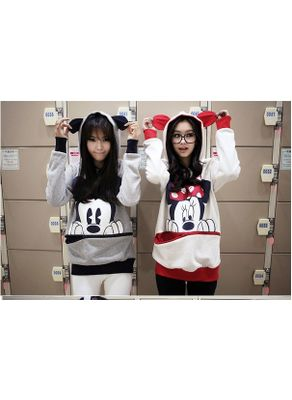 Mickey & Meanie Mouse Printed Hoodie