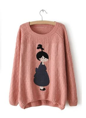 Cute Pink Doll Printed Sweater