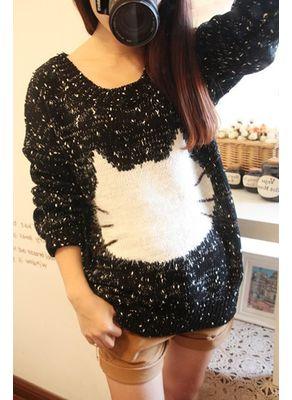 Black Woolen Printed Sweater