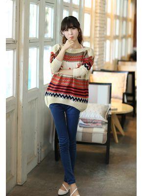 Beige Printed Sweater