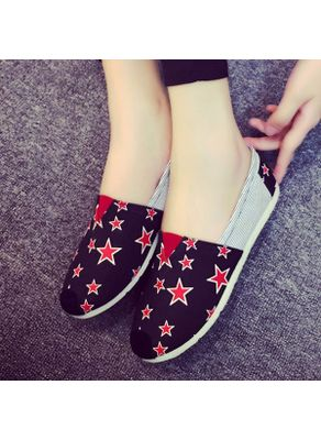 Star Printed Loafers - Black-KP001383