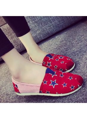 Star Printed Loafers - Red -KP001382