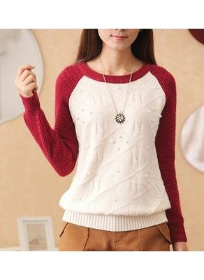 Pearl Design Worsted Sweater - KP001397