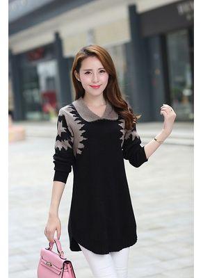 Black Printed Sweater - KP001399