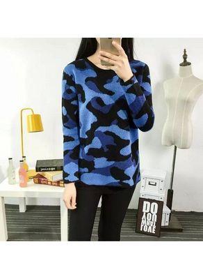 Black & Blue Printed Sweater - KP001402