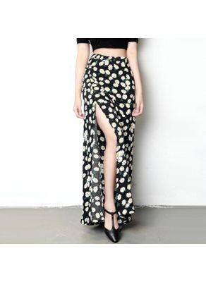 Beautiful Floral Slit Maxi Skirt