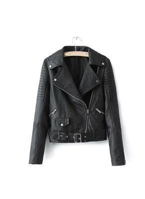 Black Solid PU Jacket