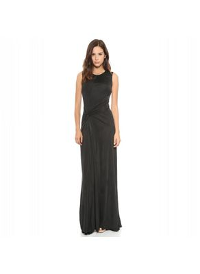Solid Black Color Ankle Length Party Dress