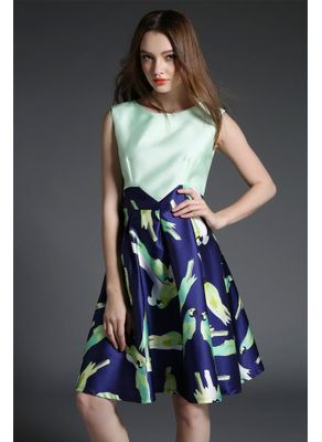 Beautiful Blue & White Parrot Printed Party Dress