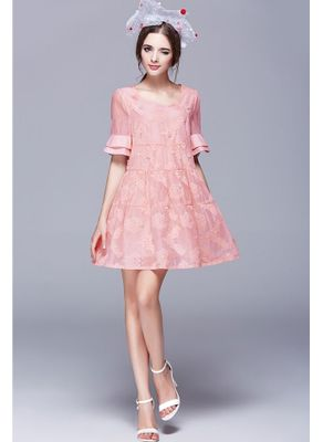 Beautiful Embroidery Pink Party Dress