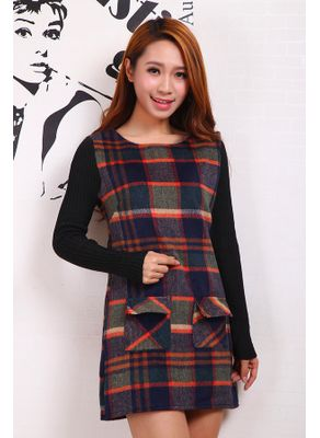 Paid Woolen Winter Dress - KP001447
